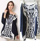 OverSize Women Fashion Print Black White Long Sleeve Tops Casual Dresses Pick
