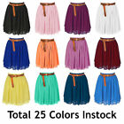 S Women Lady Chiffon Pleated Mini Skirts Retro High Waist Double Layer 25 Color