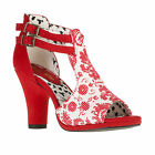 Ruby Shoo Khloe Sandals Shoes Sz 3 - 8 Red / Black & White Chunky Floral