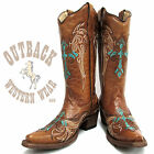 Circle G by Corral Ladies Cognac with Turquoise Cross Wing Snip Toe Boots L5104