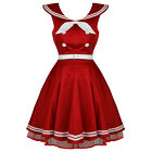 Ladies Red Sailor Rockabilly 50s Retro Vintage Pinup Bow Dress