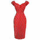 Collectif Dolores Red Polka Dot Fitted Vintage 50s Pencil Wiggle Dress