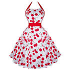 Hearts & Roses London White Cherry Rockabilly Vintage 50s Flared Sun Dress