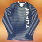 Aeropostale Mens Shirt Thermal Long Sleeve Embellished Aero Striped Shirt V097