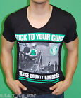 A.F.E.X D.G N&T STAR STICK TO YOUR GUNS DEEP V NECK MUSCLE SLIM FIT BODY SHIRT
