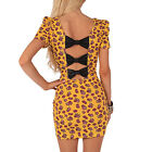 Iron Fist Scary Prairie Bow Bodycon Yellow Floral Tight Mini Party Summer Dress