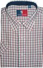 OLD ENGLAND COTTON RICH SHORT SLEEVED SMART CASUAL SHIRT (RED GREEN),SIZE S-XXL