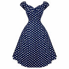 Collectif Dolores Doll Blue Polka Dot Vintage 50s Prom Sun Dress