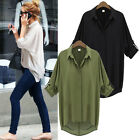 Casual Oversized Women Chiffon Collar Batwing Sleeve Baggy T-Shirt Top Blouse