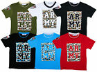 Boy's Trendy Army Camo Logo T-Shirt Top Tee 2-12 Years NEW (6 Colours)