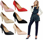 Ladies Womens Mid High Stiletto Heel Office Party Pointed Pumps Court Shoes Size