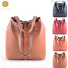 VINTAGE EXTRA LARGE BUCKET TOTE Women 3-Way Top Quality Leather Big Bag Handbag