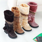 Womens Winter Warm Fad Mode Lace Up Snow Boots Shoes Flat Heel Half Boots