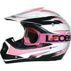 LEO-X16 Kids Child Off Road MX Motorbike Motocross Helmet Pink/White + Goggles
