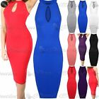 Womens Ladies High Neck Sleeveless Keyhole Detail Camisole Bodycon Midi Dress