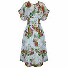 Hell Bunny Florrie Blue Floral 1940s WW2 Wartime Victory Tea Dress