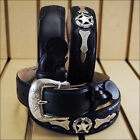BLACK JUSTIN ODESSA WESTERN TOOLED LEATHER MEN'S BELT WITH SHOW STAR CONCHO