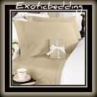 Beige Solid 4-Piece Bed Sheet Set 1200 Thread Count Egyptian Cotton