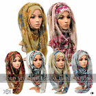 ♡GOLD STUDDED FLORAL PRINT♡ Big Large Maxi Shawl Scarf Hijab Sarong Wrap Cape