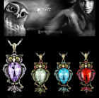 Retro Jewelry Women Crystal Owl Pendant Necklace Long Sweater Chain Charm Gift