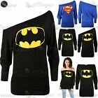 Womens Ladies Superman Batman Comic Hero Long Sleeve Batwing Off Shoulder Top