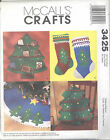 McCall's 3425 Christmas Tree Card Holder, Stocking, Pillow and Tree Skirt