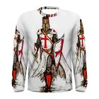 Knights Templar in Battle Sublimated Men's Long Sleeve T-Shirt S,M,L,XL,2XL,3XL