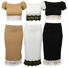 Ladies Crop Top Pencil Skirt SET Womens Floral Lace Stretch Two Piece Summer New