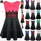 Womens Ladies Sleeveless Waist Lace Flared Franki Skater Mini Dress UK Plus Size