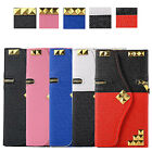 Punk Rivit Zip PU Leather Flip Stand Wallet Case Cover for Samsung Galaxy Note 4
