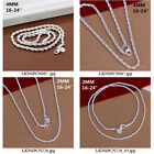 """Men Hot Silver Plated Twisted Rope Chain Necklace Link 4MM and 2MM 16""""-24"""" inch"""