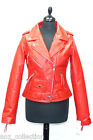 Lady Brando Red Ladies Womens Designer Biker Style Real Hide Leather Jacket
