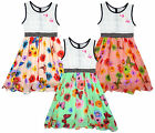 Girl's Floral Butterfly Chiffon Lined Skirt Lace Bow Back Dress 2-12 Years NEW