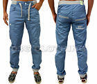 Mens Designer ETO Jeans Curved Leg Tapered Fit Cuffed Chinos Joggers Pant EM490