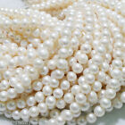 "Wholesale Natural Real White Freshwater Pearl Rondelle Loose Beads 14""AAA++"