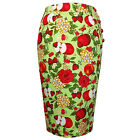 Womens Green Fruity Floral Fitted Pencil Wiggle Skirt Pinup Rockbailly Vintage