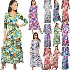 New Womens Ladies 3/4 Sleeve Evening Cocktail Party Flared Swing Maxi Dress 8-26