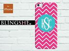 Customised Monogram hot pink chevron case for iPhone 4 4s 5 5s 5c mn001