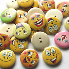 New 10/50/100pcs Grimace Wood Buttons 25mm Sewing Craft 2 Holes Wholesales T0785