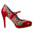 Womens Ladies New Vintage 50s Pinup High Heel Mary Jane Shoes Red Floral