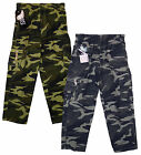 Boy's Army Camo Combat Zip Pocket Trousers Khaki or Grey 3 to 12 Years NEW