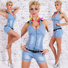 Sexy JEANS HOT PANTS OVERALL Jumpsuit BLUE WASHED Gr. S, M, L, XL