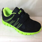 BOYS BLACK VELCRO TRAINERS LIME GREEN LIGHTWEIGHT AIR SPORTS PUMPS SHOES