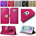 For Samsung Galaxy S6 EDGE Shiny Leather Flip Wallet Cover Case