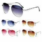 Womens Rhinestone Heart Temple Luxury Diva Aviator Sunglasses
