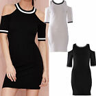New Womens Shoulder Cut Out Stretch Bodycon Short Mini Party Varsity Dress