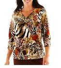 Alfred Dunner top Bryce Canyon Tribal Patchwork 3/4 sleeves women's size PS NEW