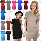 Women Ladies Plain Stretchy Baggy Oversized Turn Back Sleeve T shirt Top Dress