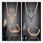 Women 18k Gold Plated Necklace Bracelet  earrings Ring jewelry sets In 2 Colors