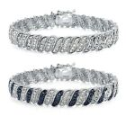 1ct TDW Diamond Wave Link Tennis Bracelet, 4 Options